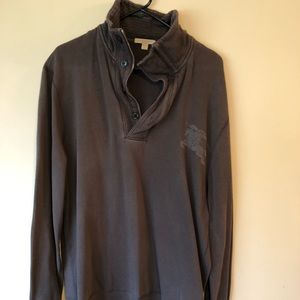 Men's Burberry Quarter Zip with Buttons Pullover